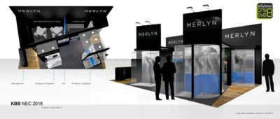 Exhibition stand design concepts for Merlyn Showers exhibiting at KBB NEC Birmingham