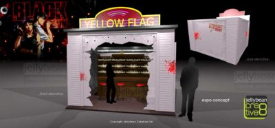 Black Lagoon Yellow Flag Bar Exhibition Stand Design