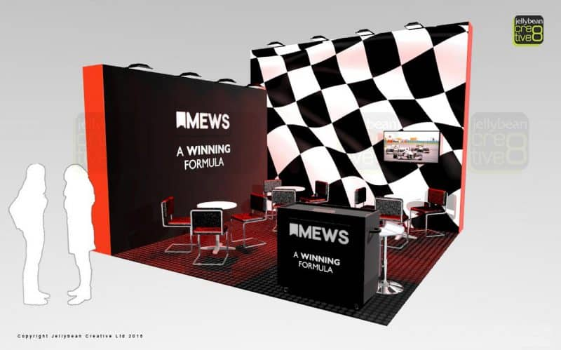 Custom exhibition stands with racing motorsport theme