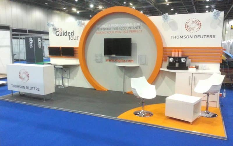 AV engagement exhibition stand for Thomson Reuters at Accountex Trade show